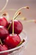 Fresh cherries on cute bowl