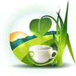 Beautiful landscape illustration with cup and leafs