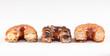 Chocolate, cream and original croissant and doughnut mixture
