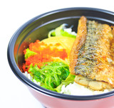 Grilled fish or Saba with rice and also called Shioyaki poster