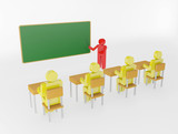 3d person with pointer in hand close to blackboard. Concept of e