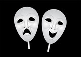 theater masks of drama and comedy poster