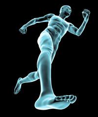 Uomo che corre muscoli piede