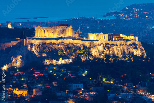canvas print picture The Acropolis in Athens, Greece, at night