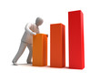 Businessman and rising graph, 3D concept
