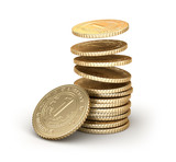 Golden coins falling in pile isolated on white