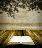 Read book on wooden table in retro style, Nostalgia concept poster
