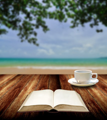Reading book with hot cup at island , Relax concept