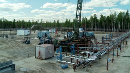 Workover rig at the oilfield.