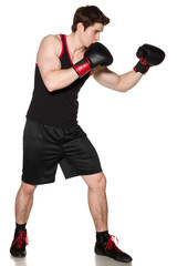 Full length of young boxer fighter