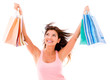 Very happy shopping woman