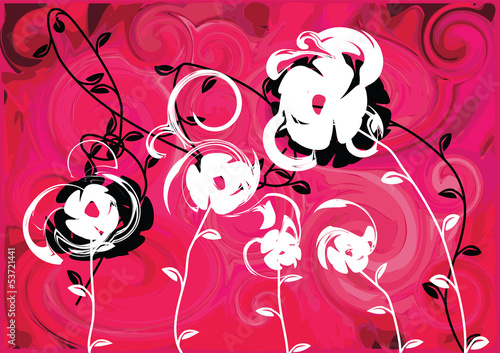 Pink background floral illustration, summer happiness vector