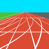 Red treadmill at the stadium with white lines.  vector illustrat