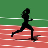Running silhouettes in sport stadium. Vector illustration.