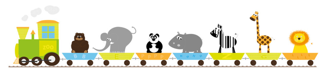 animals train - vector illustration on white bakcground