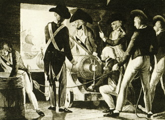 English sailors operating a cannon (ca. 1800)