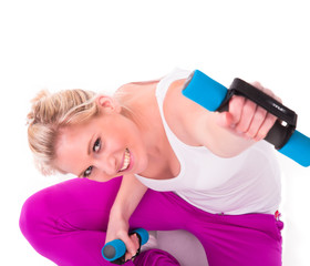 Blond smiling fitness woman