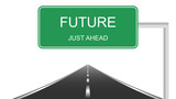 Future just ahead green road sign