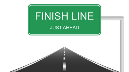 Finish Line just ahead green road sign