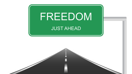 "illustration of road sign with text ""freedom"""