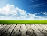 Green field and wood floor