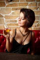 Glamour girl with wineglass