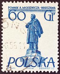 Mickiewicz monument, Warsaw (Poland 1955)