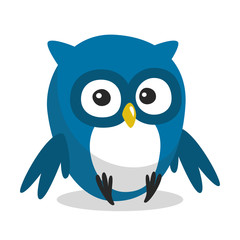 Funny blue cartoon owl with big eyes