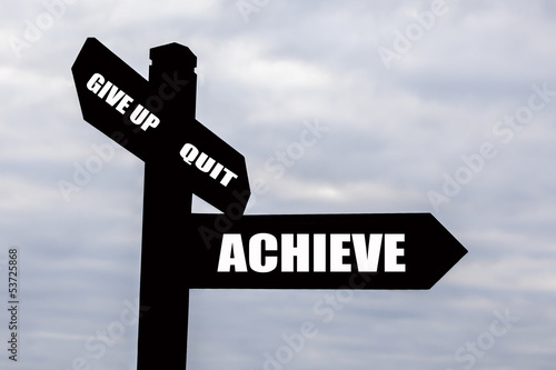 Achieve & Success Signpost.