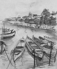 Pencil Drawing of The Old Fishing Boats in Sozopol