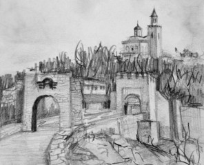 Pencil Drawing of Fortress Tsarevets in Veliko Tarnovo