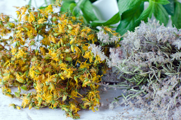 Dried St. John's wort, thyme and mint