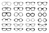 Glasses set isolated on white background