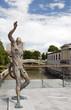 statue of Prometheus on Butcher's Bridge with padlocks Ljubljani