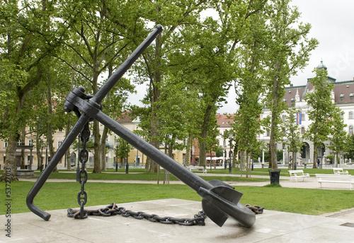 Anchor Monument in Congress Square Park Ljubljana Slovenia
