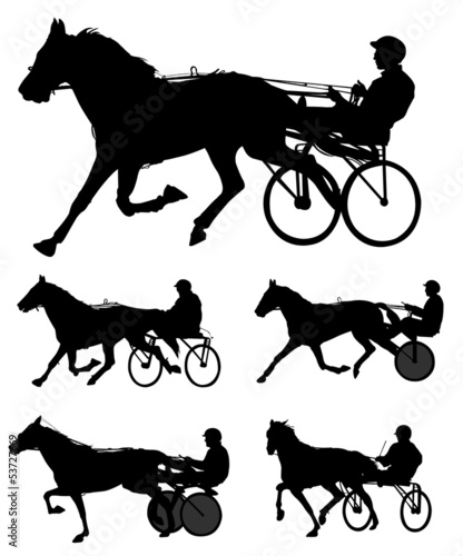 trotters race silhouettes -vector