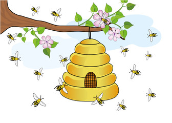 Bienensock am Baum