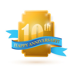 10 years anniversary golden seal with ribbon.