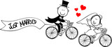 funny bride and groom on bycicle