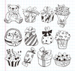 set of birthday gift icons