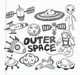 doodle space element icons