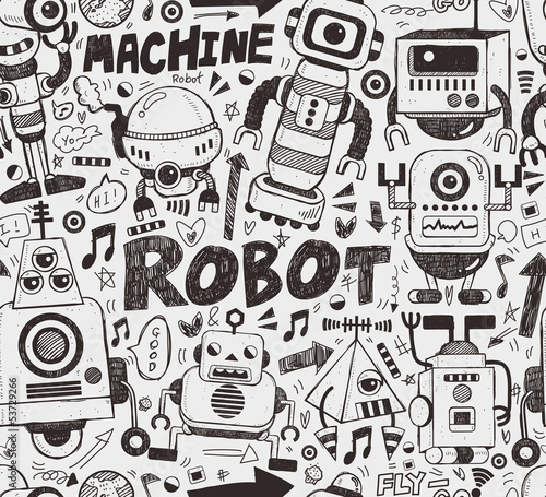 Naklejka Robot bez szwu wzór