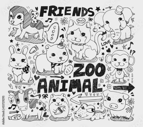 animal friend doodle element