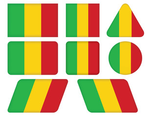 set of buttons with flag of Mali