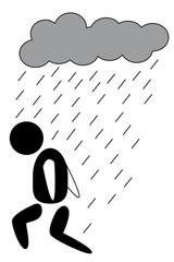 homme triste pluie