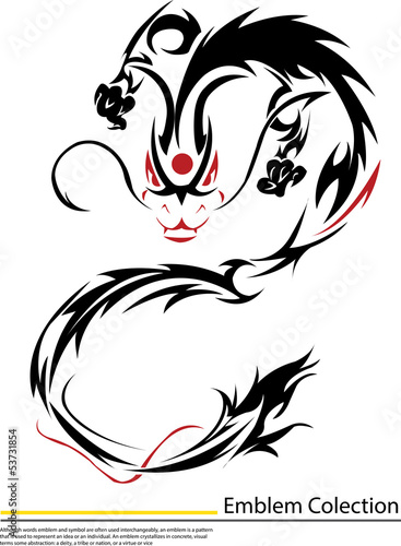 black dragon fire on white background