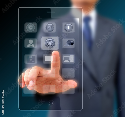 Businessman touching screen on modern mobile smart phone