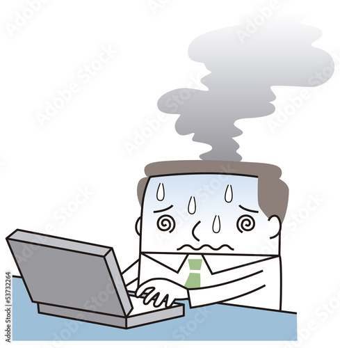頭から煙を出すビジネスマン