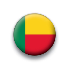 Vector flag button series Benin