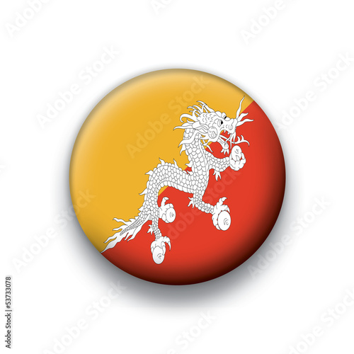 Vector flag button series Bhutan